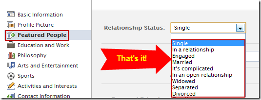 Change your marital status on Facebook - updated 2011